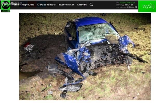 fot.: Zdjęcie rozbitego w wypadku seata ibizy zamieszczone przez użytkownika AnetaPlock na portalu kontakt24.tvn24.pl