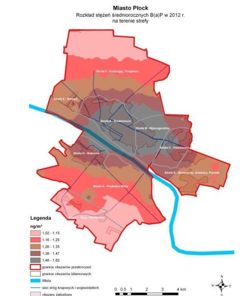 Źródło: Uchwała Nr 184/13 Sejmiku Województwa Mazowieckiego z 25.11.2013 r. w sprawie programu ochrony powietrza dla stref województwa mazowieckiego, w których został przekroczony poziom docelowy benzo(a)pirenu w powietrzu